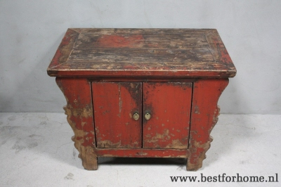 Authentiek oud houten deurs kast oniek stoer chinees kastje no