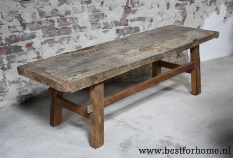 Chinese origineel oud houten salontafel stoere robuuste landelijke