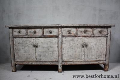 Groot landelijk uniek dressoir stoere kast hoogglans wit oud hout