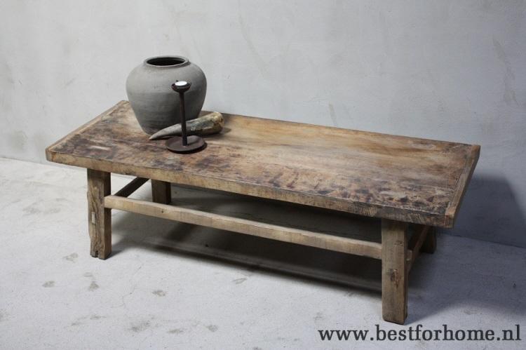 Houten Salon Tafel : Landelijke oud houten salontafel robuuste unieke tafel sober stoer