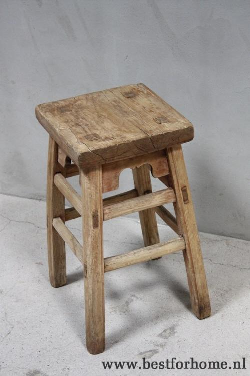 Robuuste Houten Ladder.Originele Landelijke Kruk Oud Hout Robuust Uniek Bijzettafeltje No