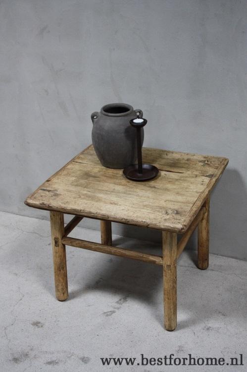 oude landelijke houten bijzettafel stoere originele tafel china no