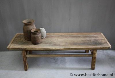 Houten Salon Tafel : Grote sobere oud houten salontafel unieke stoere landelijke tafel