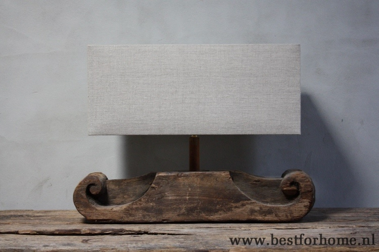Robuuste Oude Houten Ornament Lamp Unieke Sobere Stoere Lampenvoet No175 Verkocht
