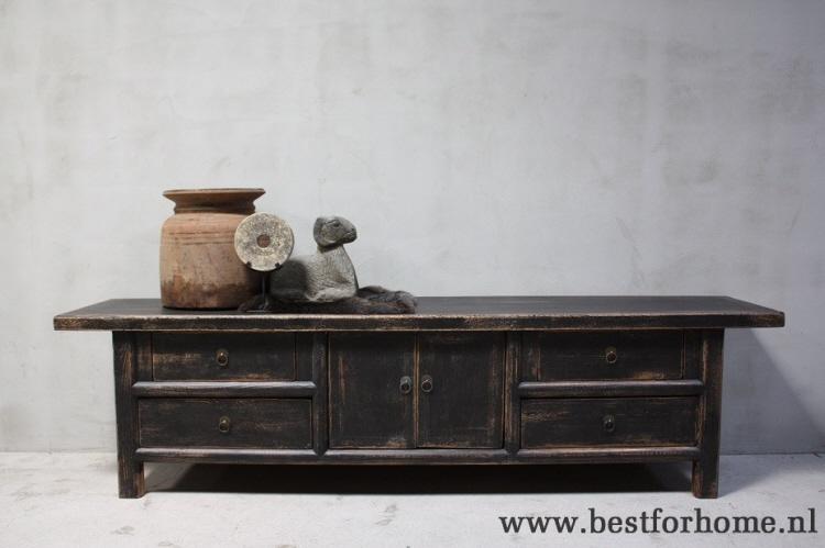 Houten Lage Kast.Sobere Landelijke Unieke Zwarte Oud Houten Dressoir Stoere Chinese Lage Kast No 241