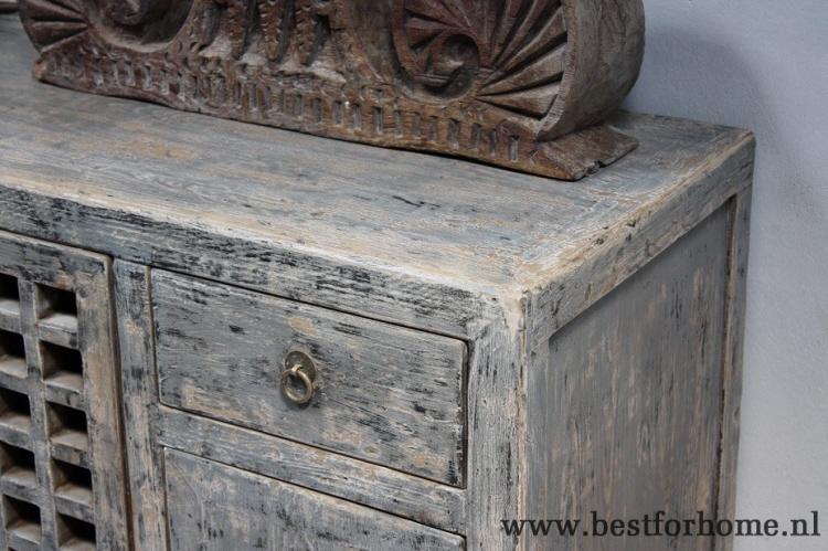 Kast Grijs Hout : Sobere landelijke oud houten dressoir stoere unieke doorleefde