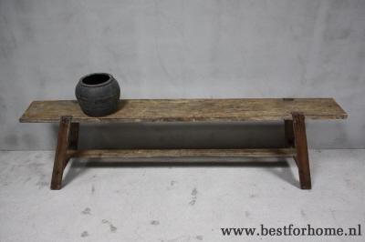 Stoere landelijke oude houten eettafelbank unieke bank puur