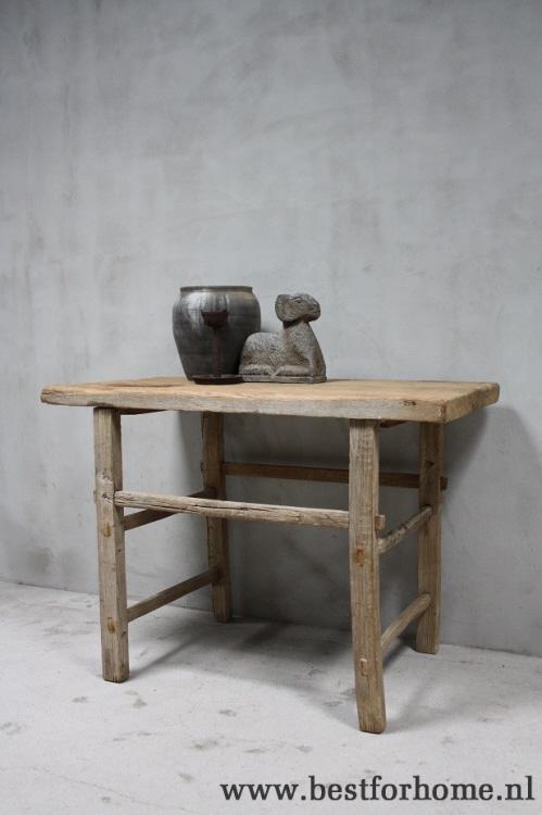 Oud Houten Side Table.Stoere Oud Houten Wandtafel Sobere Landelijke Oude Sidetable China No 552 Verkocht