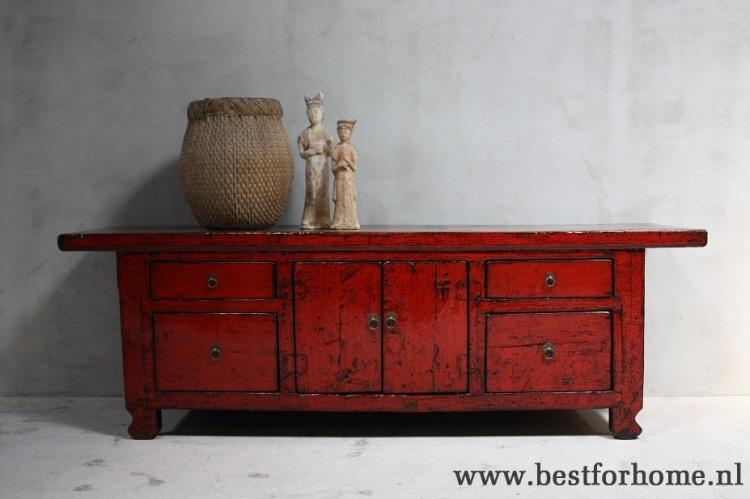 Uniek Werelds Gekleurd Dressoir Landelijke Oud Houten Rode Kast Oriental Chic No598