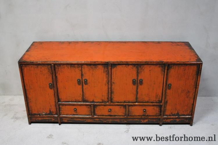 Oude Houten Kast : Unieke chinese lage oud houten kast puur chic landelijk dressoir no