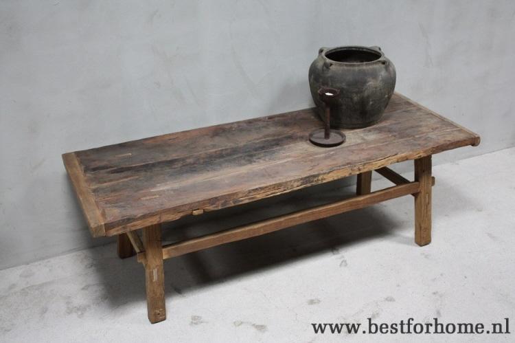 Grote Houten Tafels : Unieke grote landelijke oude houten salontafel sober stoer robuuste