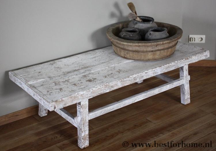 Houten Witte Salon Tafel.Unieke Landelijke Grote Oud Houten Salontafel Doorleefd Wit No 861