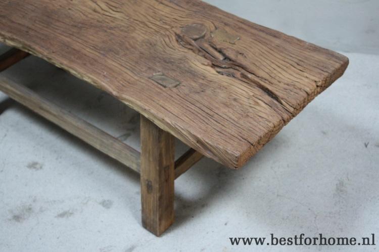 Houten Boomstam Tafel : Unieke robuuste oud houten salontafel stoere landelijke boomstam