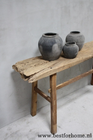 Oud Houten Side Table.Robuuste Landelijke Puur Oud Houten Sidetable Stoere Unieke Wandtafel No 227